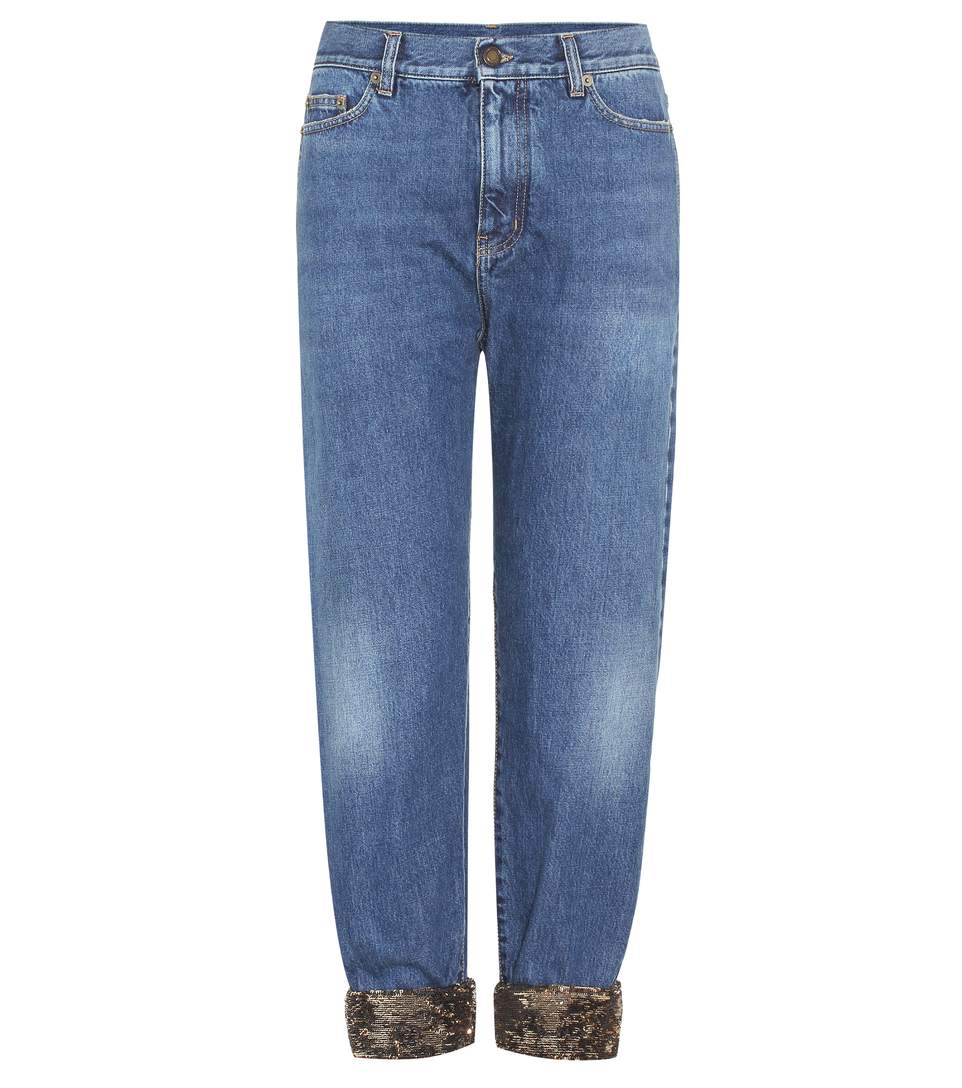 Sequin-Trimmed Jeans in Blue