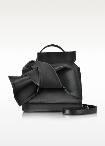Black Leather Micro Crossbody Bag W/Iconic Bow On Front