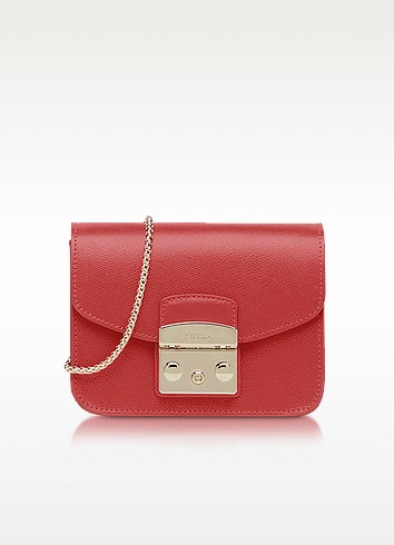 Mini Metropolis Leather Crossbody Bag - Red
