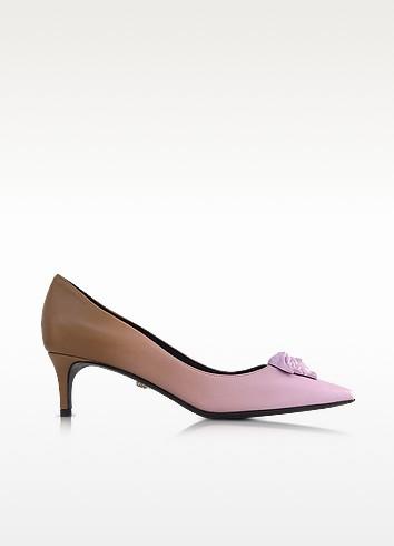Palazzo Gradient Leather Kitten Heel Pumps, Pink