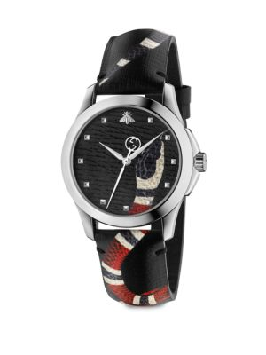 Le Marché Des Merveilles Stainless Steel And Snake-Print Leather Strap, Grey Leather