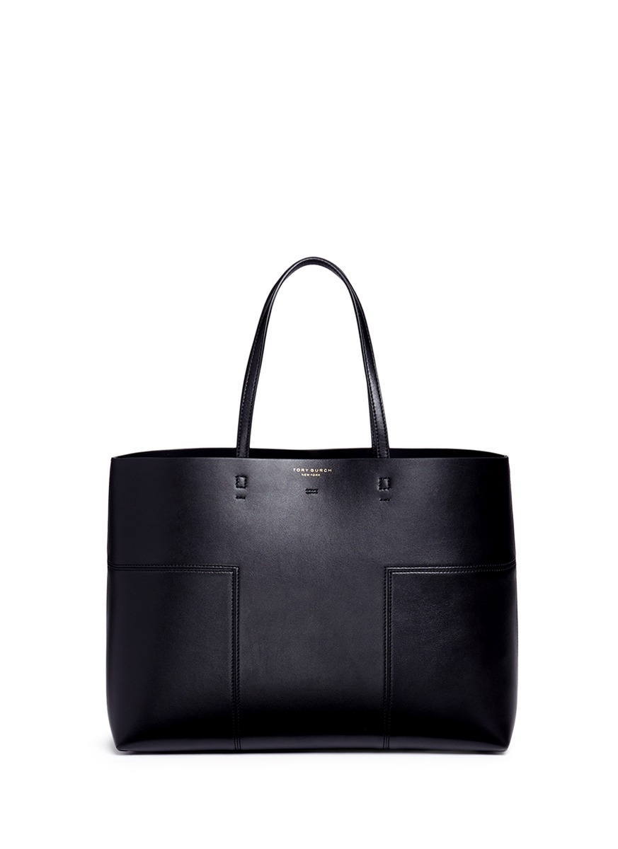 'Block-T' Patchwork Leather Tote in Black