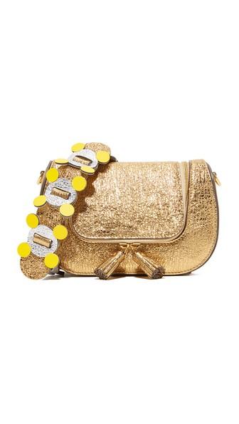 Vere Mini Circulus Leather Shoulder Bag, Светло-Золотистый