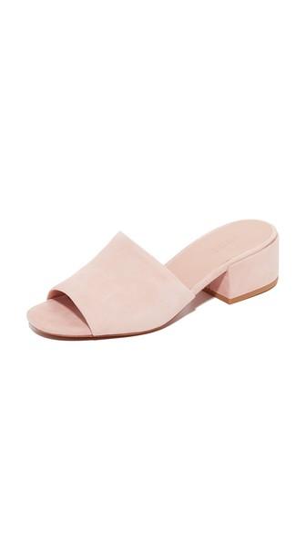 VINCE Rachelle 2 Suede Block-Heel Mule Sandal, Blush