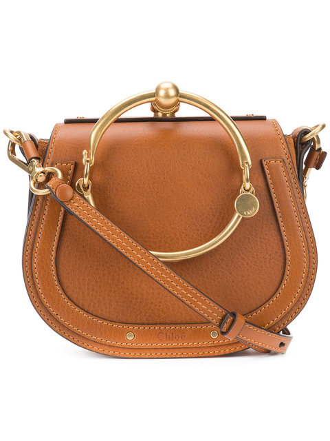 Nile Bracelet Medium Leather And Suede Shoulder Bag in Light Brown