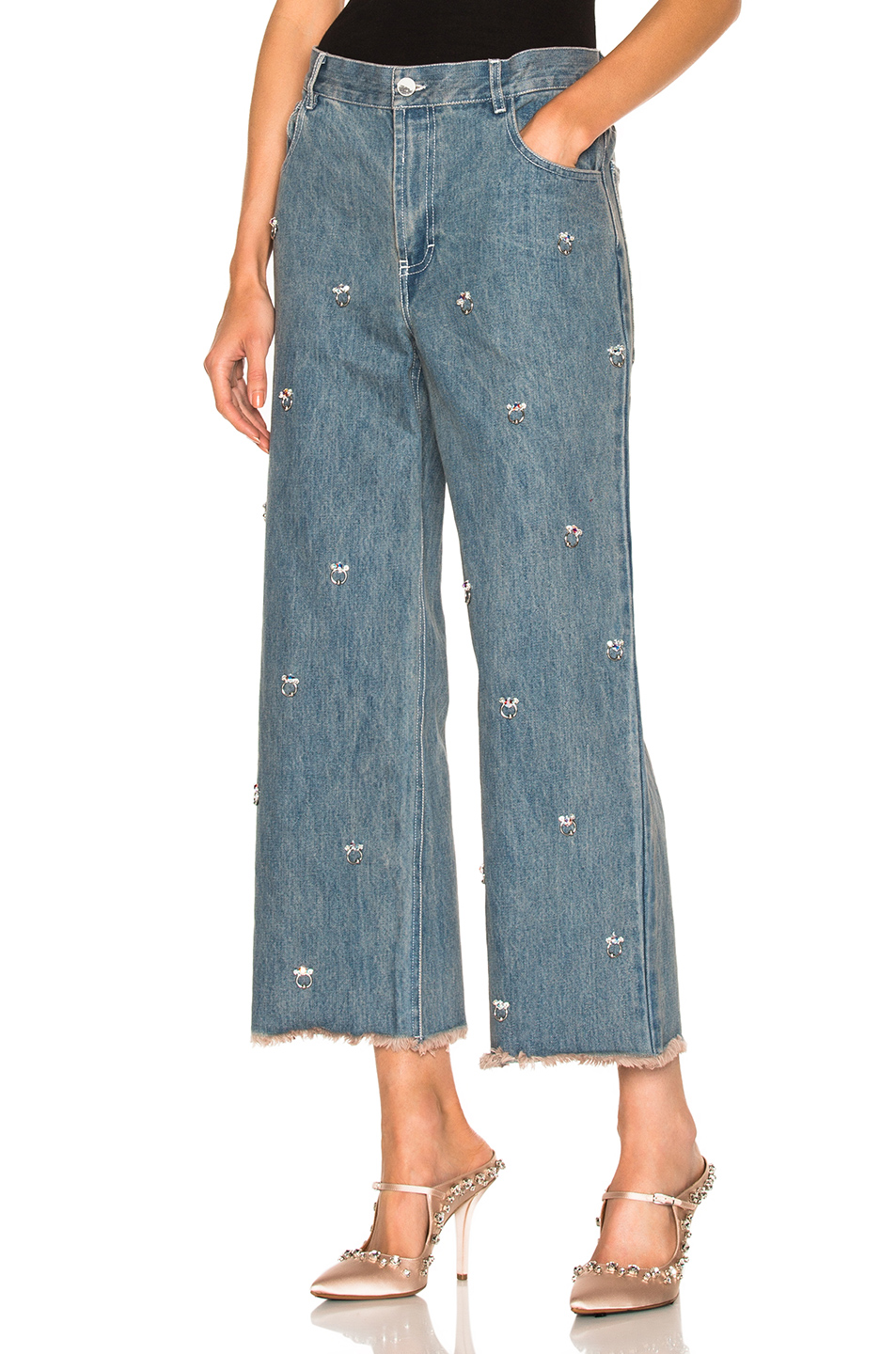 SANDY LIANG GHOST EMBELLISHED JEANS, BLUEBERRY