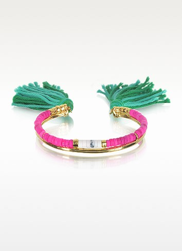 18K Gold-Plated & Pink Tinted Howlite And White Bamboo Beads Sioux Bracelet W/Emerald Cotton Tassels in Metallic