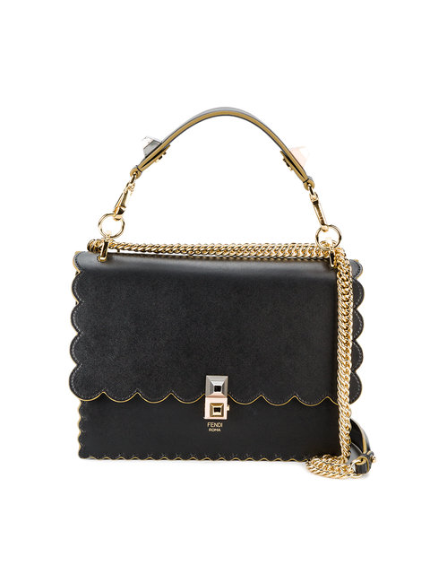 Small Kan I Scallop Leather Shoulder Bag - Black