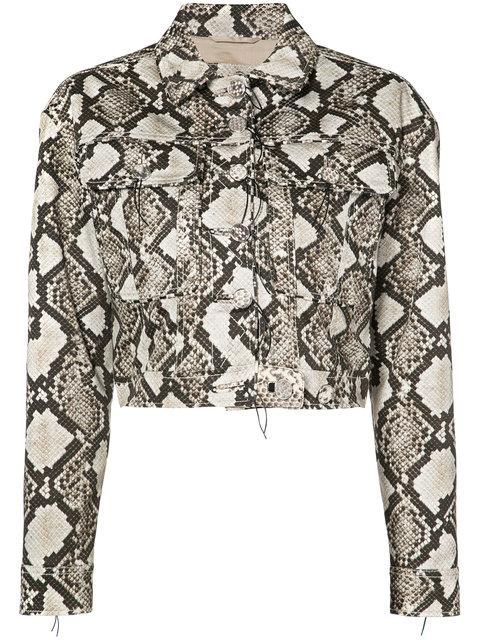 Altuzarra Atoka Embellished Silk Trucker Jacket, Brown Pat.