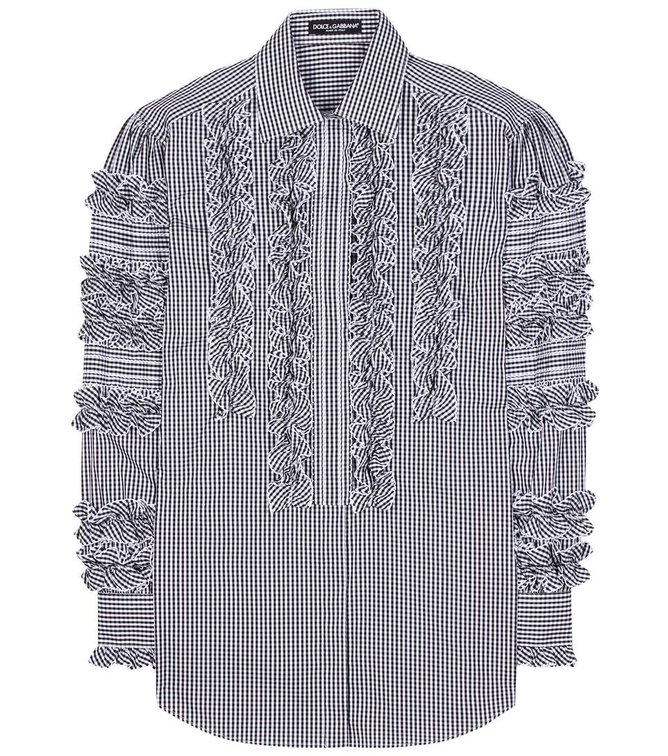 DOLCE & GABBANA COTTON SHIRT WITH RUCHE DETAILS, GINGHAM PRINT