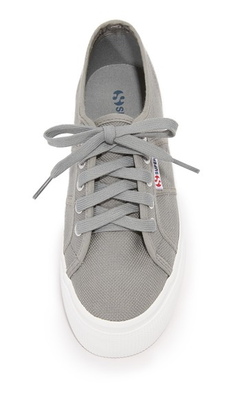 SUPERGA Linea Lace Up Platform Sneakers in Grey Sage