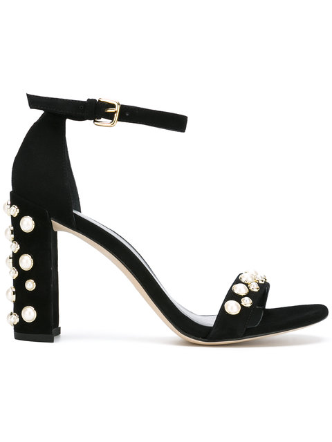 STUART WEITZMAN Morepearls Studded Suede Ankle Strap Sandals in Black