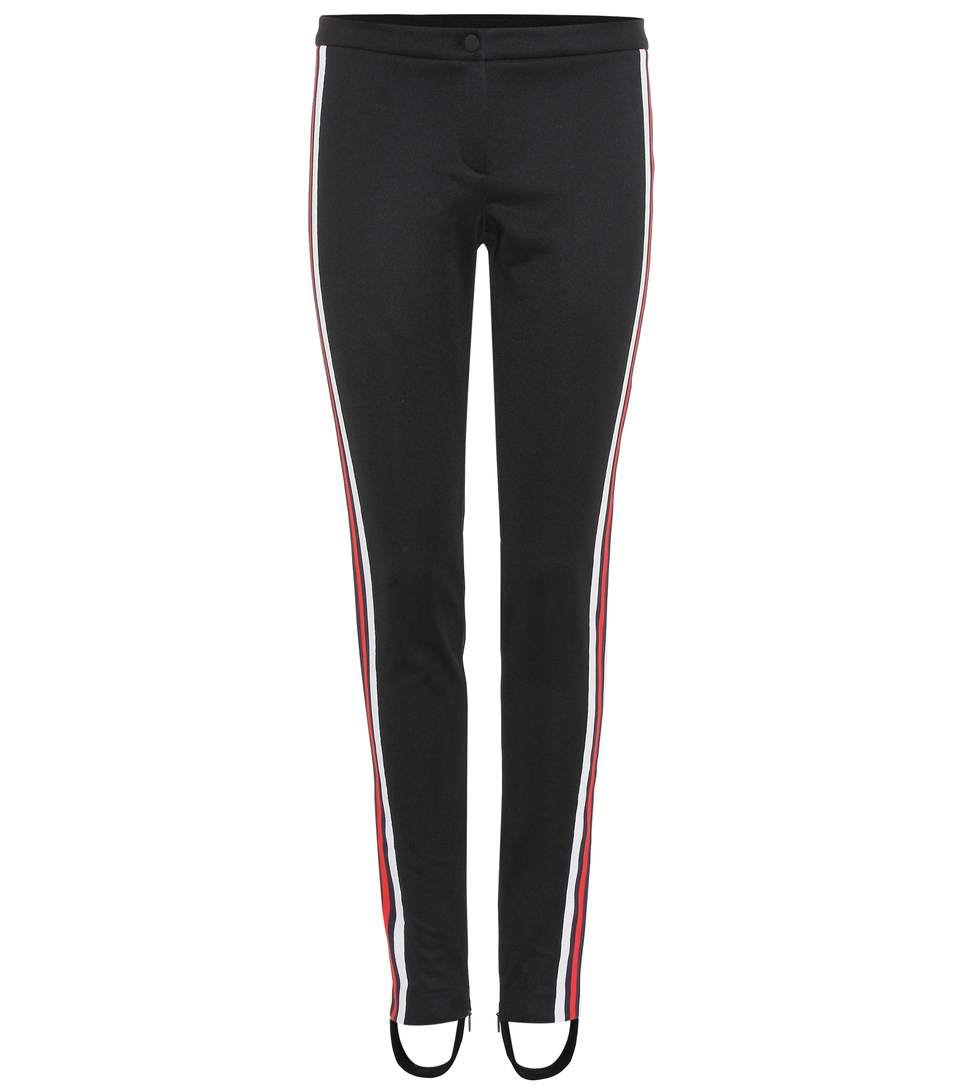 Striped Web Jersey Stirrup Logo Leggings In Black
