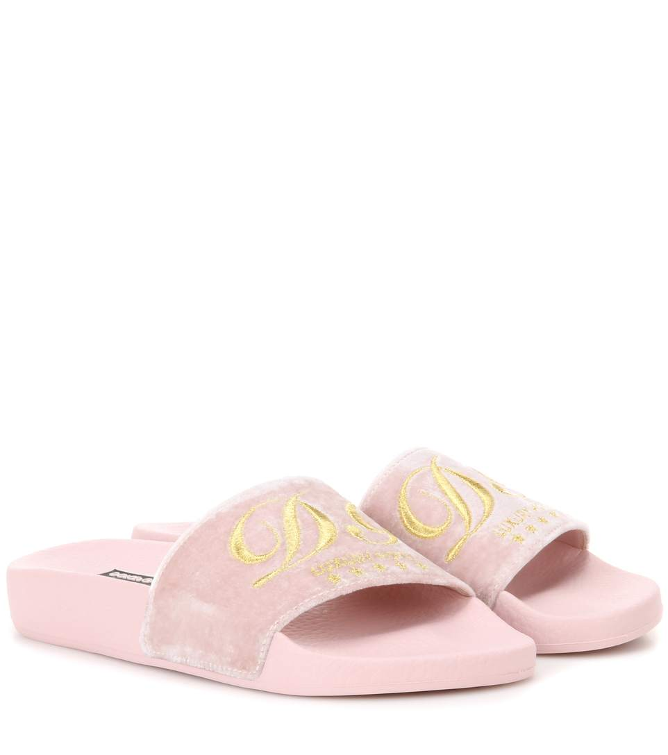 e984f119699 Dolce   Gabbana Dolce And Gabbana Pink Luxury Hotel Velvet Slide Sandals In  80404 Baby Pink