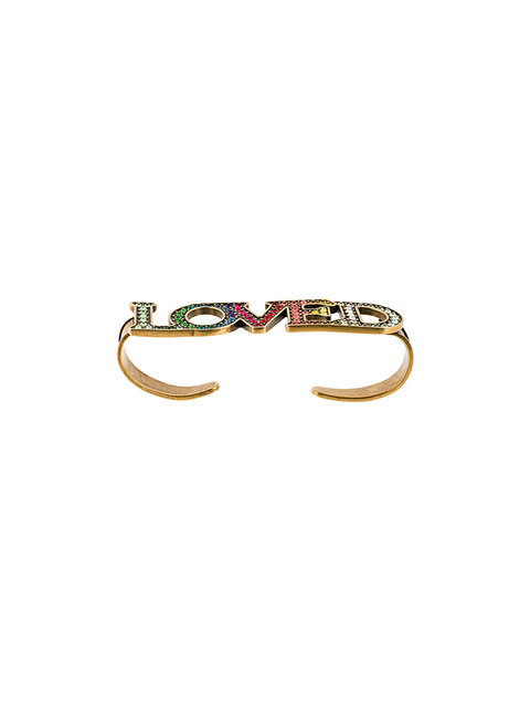 GUCCI LOVED BURNISHED GOLD-TONE CRYSTAL HAND PIECE, MULTICOLOR