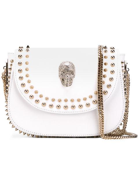 PHILIPP PLEIN Ajo Mini Shoulder Bag in White Leopard