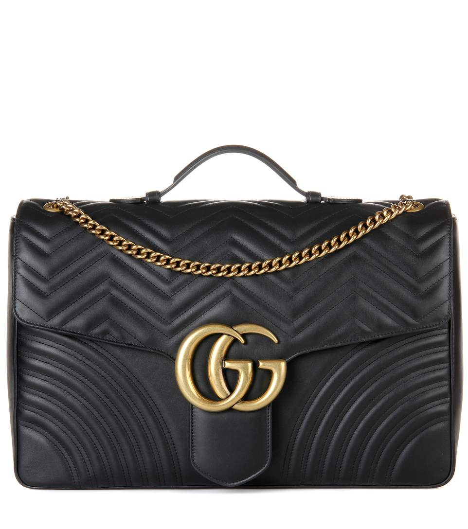 GUCCI GG MARMONT SMALL CHEVRON QUILTED TOP-HANDLE BAG WITH CHAIN STRAP, BLACK
