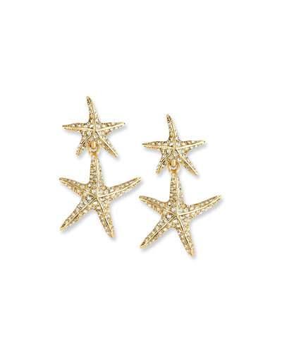 OSCAR DE LA RENTA SEA STAR GOLDEN DROP EARRINGS