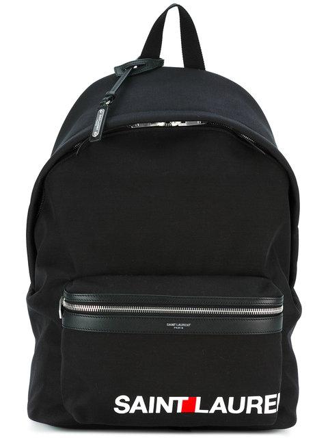 SAINT LAURENT Black Rive Gauche City Backpack in Nero