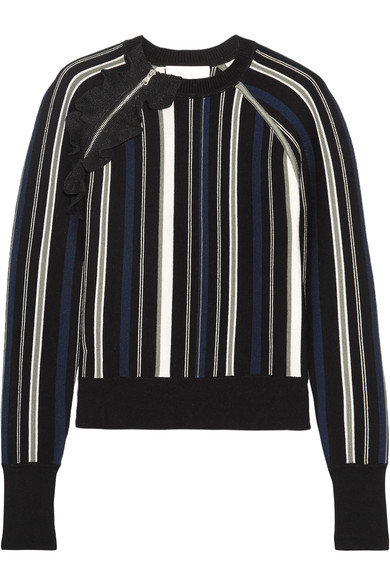 3.1 Phillip Lim Ruffle-Trimmed Striped Stretch Cotton-Blend Sweater, 黑色