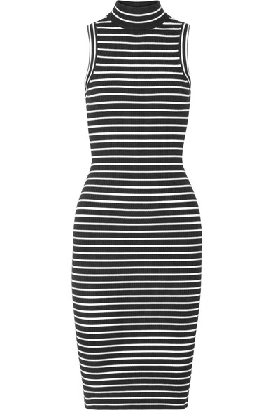 MICHAEL MICHAEL KORS Striped Ribbed Stretch-Knit Turtleneck Dress, Black