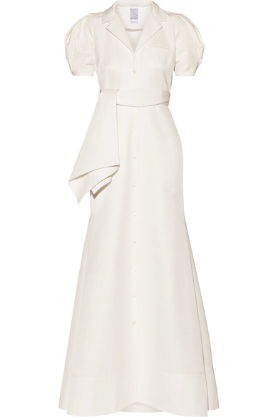 Belted Cotton-Blend Faille Gown, Ivory