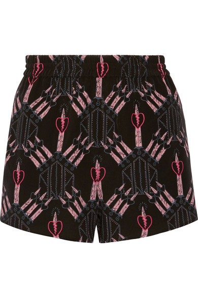 VALENTINO LOVE BLADES PRINTED SILK CREPE DE CHINE SHORTS, BLACK