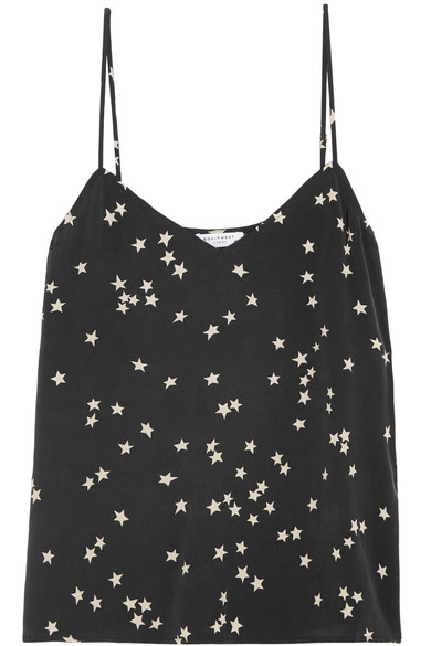 Layla Printed Washed-Silk Camisole, Black  from EQUIPMENT