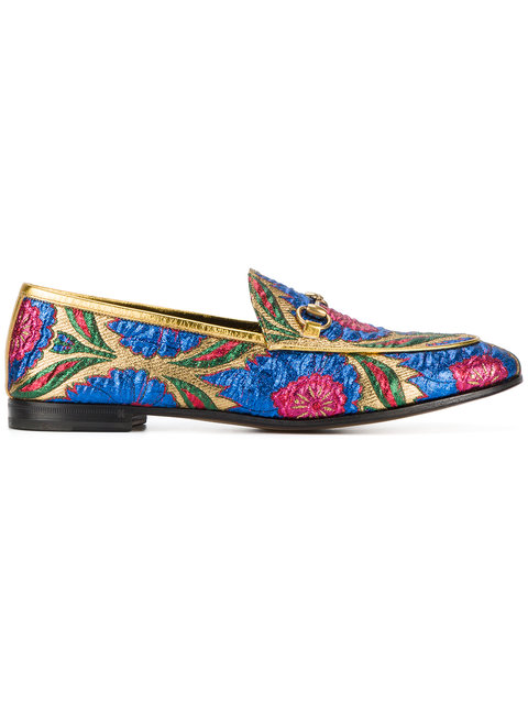 New Jordaan Embroidered Jacquard Loafers in Gold Comb