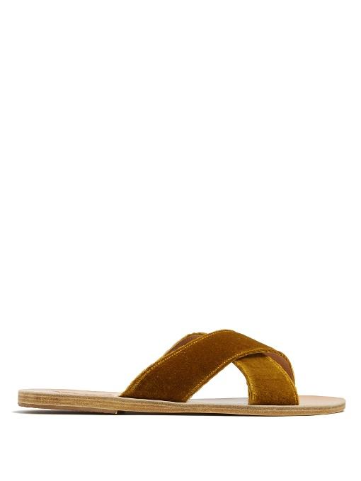 Thais Cross Strap Mustard Velvet Sandals, Dark Yellow