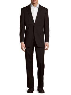 TOMMY HILFIGER Tailored Trim Fit Wool Suit in Charcoal