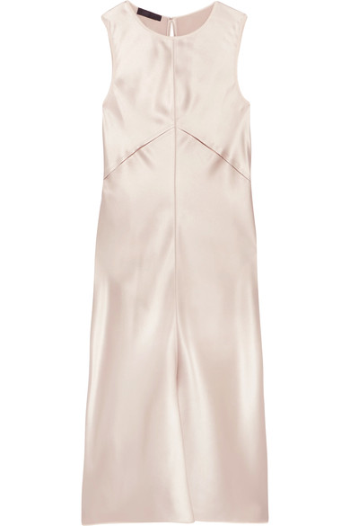 Calvin Klein Collection Woman Lamica Tulle-trimmed Silk-satin Dress Blush Size 42 Calvin Klein 0l4V5UrG