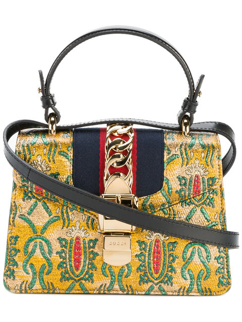 Gucci Mini Sylvie Multicolor Brocade Top Handle Bag, Gold-Multi