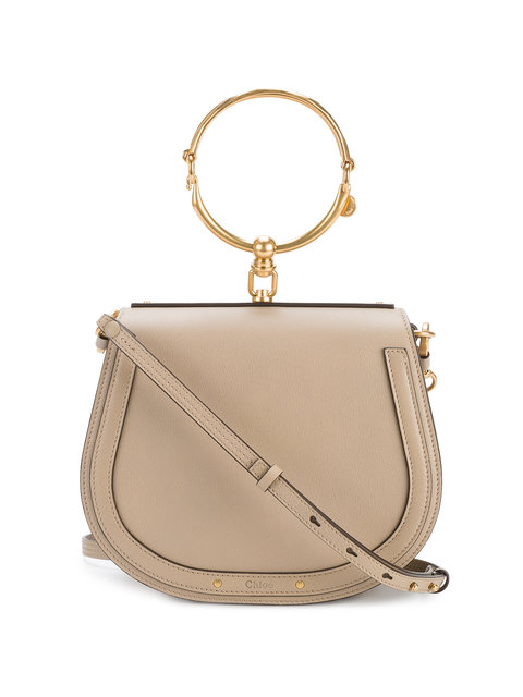 Nile Bracelet Medium Textured-Leather And Suede Shoulder Bag, Neutrals