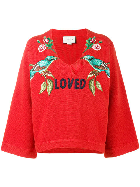 Red 'Loved Bird' Embroidered Top