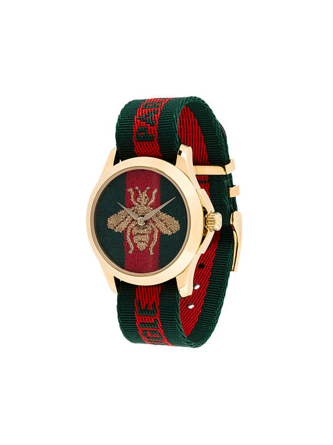 38Mm Le Marche Des Merveilles Bee Watch W/ Nylon Web Strap in Red