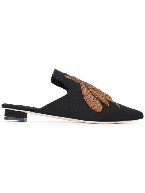 Ragno Faux Fur-Lined Embroidered Velvet Slippers, Black