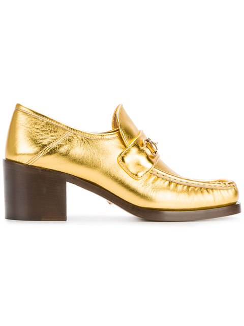 GUCCI HORSEBIT-DETAILED COLLAPSIBLE-HEEL METALLIC LEATHER LOAFERS, METALLIC GOLD
