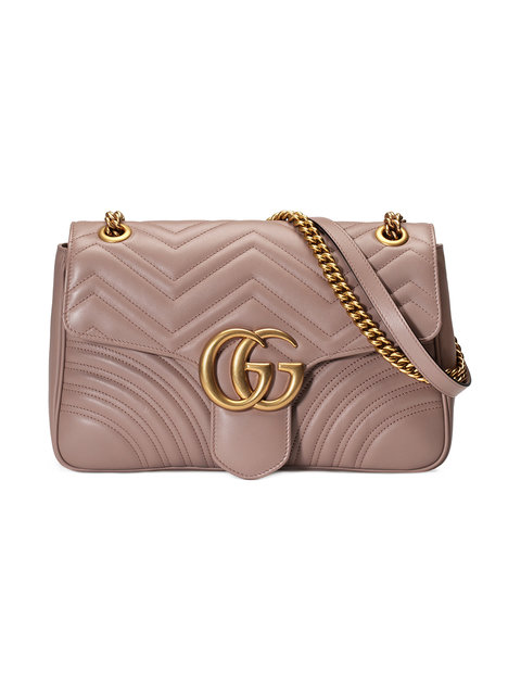 Medium Gg Marmont 2.0 Matelasse Leather Shoulder Bag - White, Dusty Pink Matelassé Chevron Leather