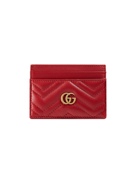 Gg Marmont Quilted Leather Cardholder, Red