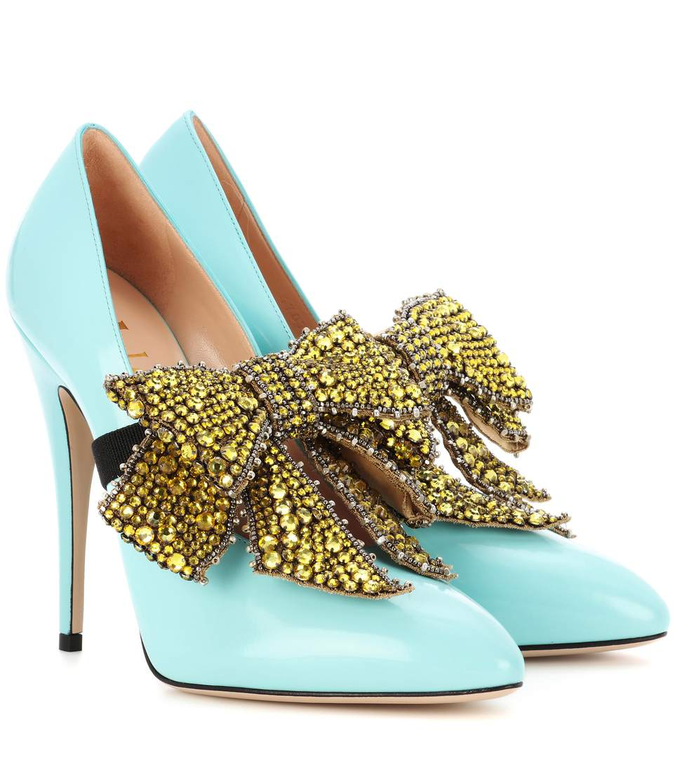 GUCCI ELAISA REMOVABLE CRYSTAL BOW & LEATHER POINT TOE PUMPS, LIGHT BLUE