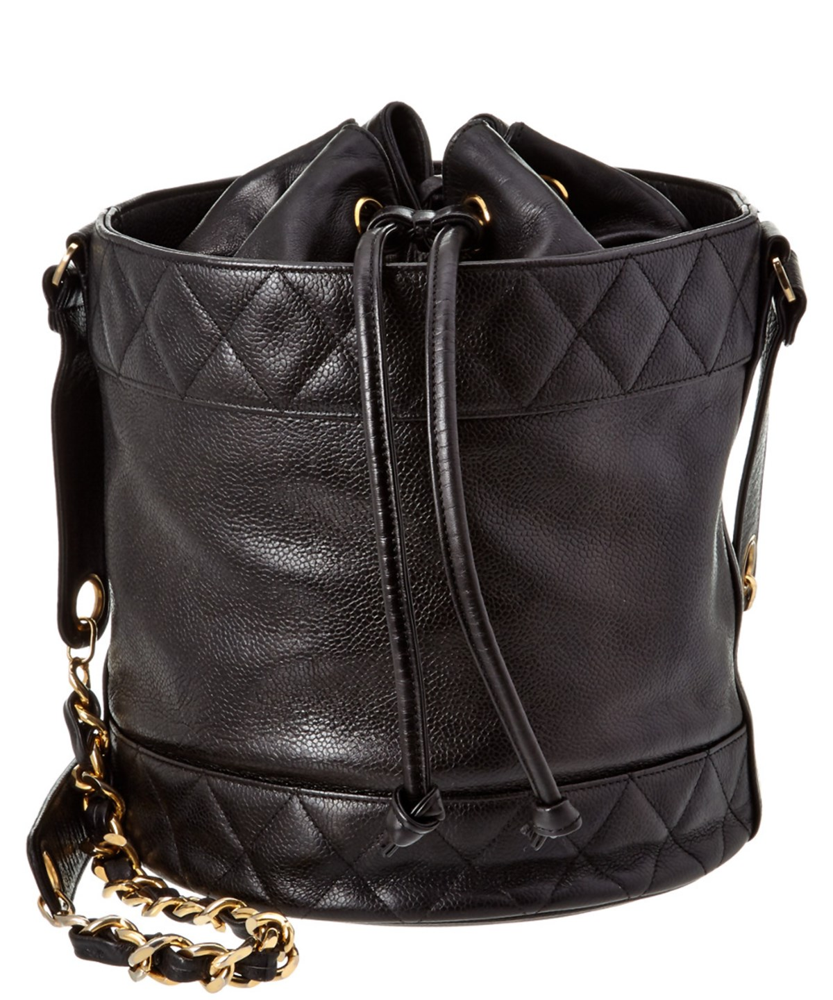 CHANEL. Chanel Black Quilted Caviar Leather Border Bucket Bag 930dc23ff1bae