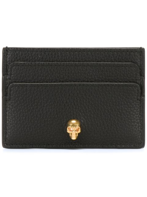 Skull-Embellished Grained-Leather Cardholder in Black