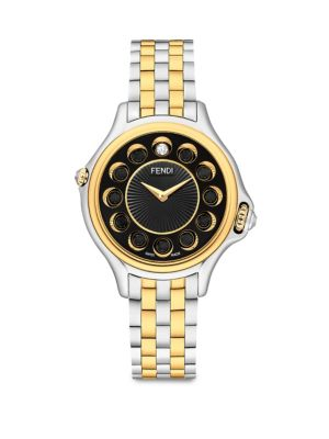 FENDI Crazy Carats Diamond, Black Spinel, White Topaz & Two-Tone Stainless Steel Bracelet Watch, Na