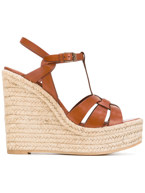 Tribute Leather Espadrille Wedge Sandals in Brown