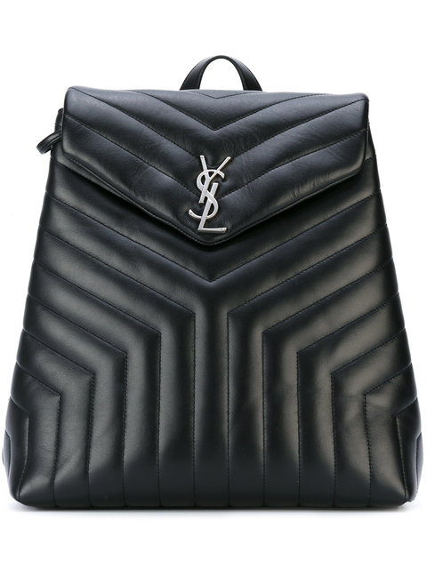 Loulou Monogram Ysl Medium Quilted Leather Backpack in Black