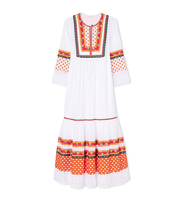 Tory Burch Woman Annalise Lace-trimmed Embroidered Cotton-voile Midi Dress White Size 10 Tory Burch 8ZeGoA