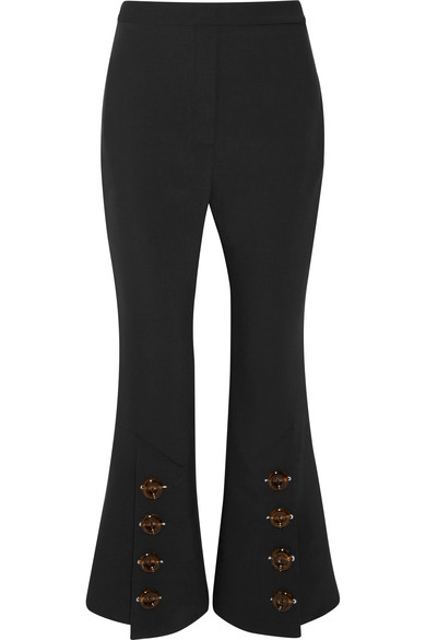 Cheap Sale For Nice Ellery Woman Fourth Element Button-embellished Crepe De Chine Flared Pants Black Size 4 Ellery Free Shipping 2018 Newest Choice Sale Real Discount 100% Guaranteed YivfN1Pb