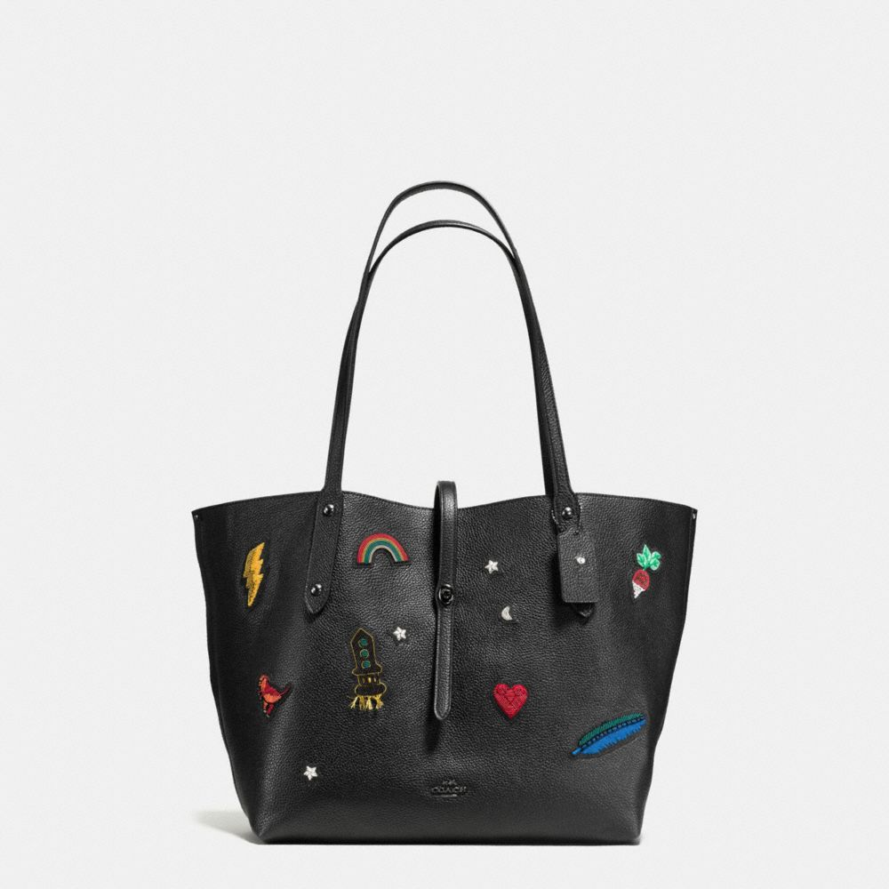 Tote - Embroidered Detail Leather Market Tote Black - black - Tote for ladies Coach wBlqli
