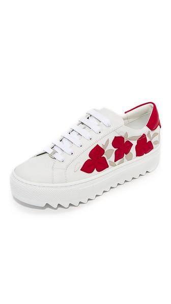 SALVATORE FERRAGAMO Eddy Flower Sneakers, Bianco/Pamplon/Anaca Bianco
